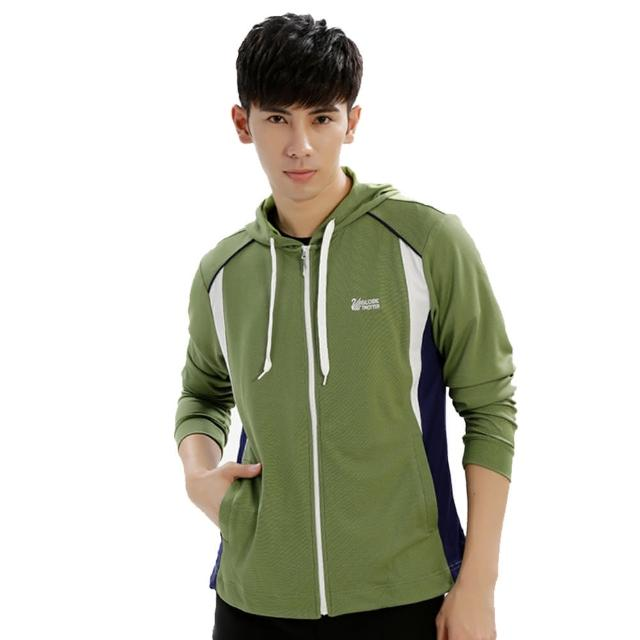 【遊遍天下】男版吸濕排汗透氣抗UV連帽外套GJ10011草綠(M-3L)/
