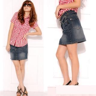 【Lady c.c.】合身曲線中度輕熟簡緻牛仔裙