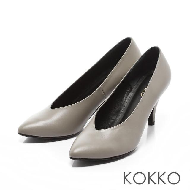 【KOKKO集團】復古經典尖頭牛皮V口高跟鞋(中性灰)