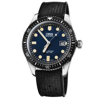【ORIS 豪利時】Divers Sixty-Five 1965 潛水機械錶-藍x黑/42mm(0173377204055-0742118)