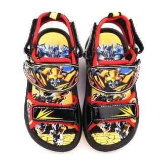 【童鞋城堡】變形金剛 中童 大黃蜂多點可調式涼鞋(TF3258-黑)