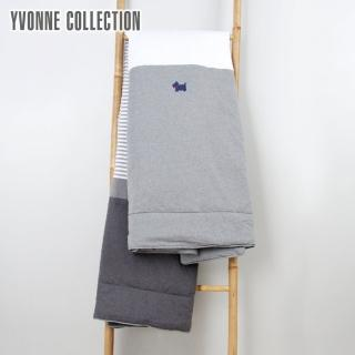 【Yvonne Collection】狗狗條紋雙人四季被(灰色)