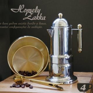 【Homely Zakka】新古典裝飾鍍金304不鏽鋼咖啡壼/摩卡壼(4杯)