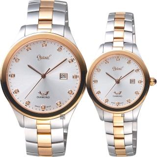 【Ogival 愛其華】尊榮真鑽復刻對錶-銀/41+30mm(3366MSR+3366LSR)