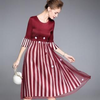 【羽生摺衣】時尚京都-小花薄紗直條洋裝(共三色)