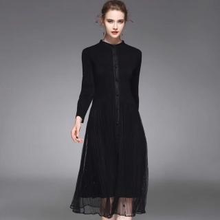 【羽生摺衣】時尚京都-立領擺珠紗洋裝(共四色)