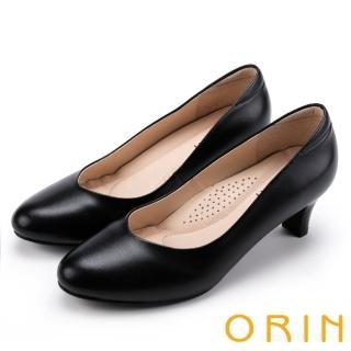 【ORIN】都會時尚OL 嚴選牛皮典雅素面中跟鞋(黑色)