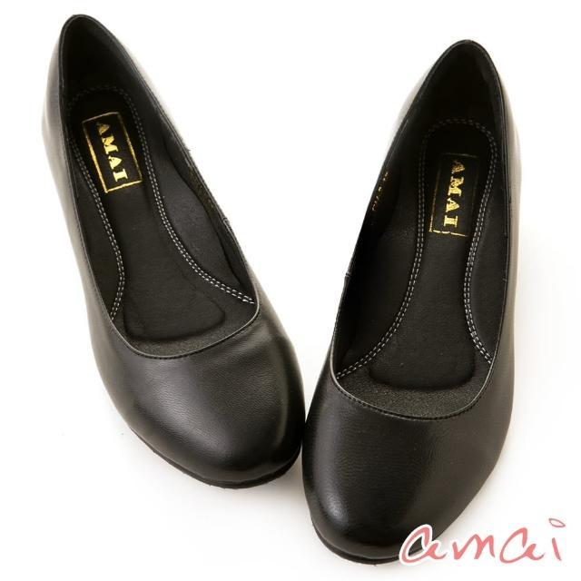 【amai】職場工作鞋。真羊皮柔軟夾心寬圓頭低跟鞋(黑)/