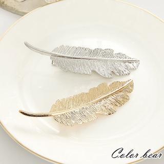 【卡樂熊】韓版時尚女伶金屬羽毛葉片造型髮夾
