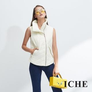 【ICHE 衣哲】暖時尚高領時尚印花拼貼拉鍊保暖造型背心