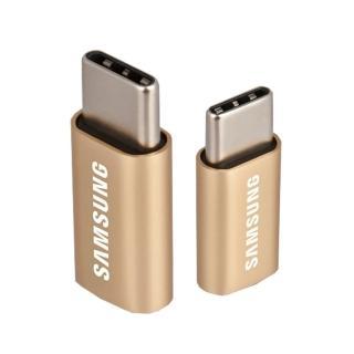 【SAMSUNG 三星】Micro USB to Type C 原廠轉接器_金(盒裝)