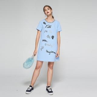 【ICHE 衣哲】暖時尚羊毛字母個性印花造型洋裝-藍