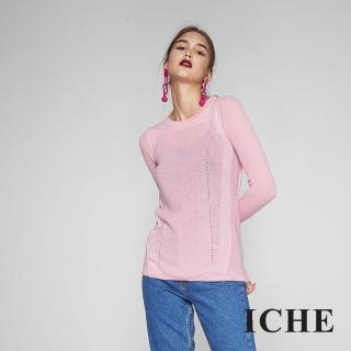 【ICHE 衣哲】簡約時尚必備百搭針織造型上衣-粉