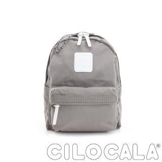 【CILOCALA】亮彩尼龍防潑水後背包-中包(灰色)