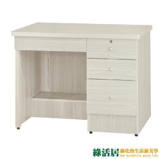 【綠活居】艾多奇   時尚3.5尺木紋四抽書桌/電腦桌(二色可選)