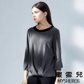 【mysheros 蜜雪兒】圓領亮片抓襬造型七分袖上衣(灰)