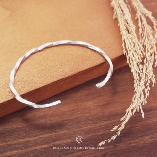 手環/手鐲 扭轉未來 亮眼方扭 純銀C型手環-64DESIGN