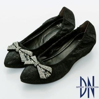 【DN】優雅名媛 浪漫蝴蝶結鑽飾尖頭內增高鞋(黑)