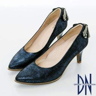 【DN】浪漫甜心 優雅蝴蝶結鑽飾尖頭跟鞋(藍)