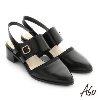 【A.S.O 阿瘦集團】個性美型 鏡面羊皮尖頭低跟寬帶涼鞋(黑)
