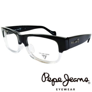 【Pepe Jeans】英倫時尚英國國旗暗花雙色造型光學眼鏡(PJ734107M008 黑+透明)