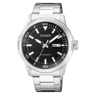 【CITIZEN 星辰】送禮首選 機械男錶 不鏽鋼錶帶 黑 防水(NH8370-86E)