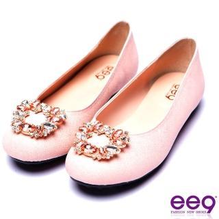 【ee9】ee9 芯滿益足都會優雅鑲嵌亮鑽超輕豆豆娃娃鞋 粉色(娃娃鞋)