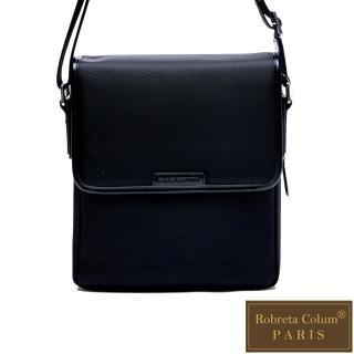 【Roberta Colum】現代雅痞休閒配真皮掀蓋機能側背包-共2色