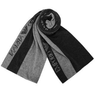 【EMPORIO ARMANI】經典LOGO雙色直紋混羊毛圍巾(黑灰色)