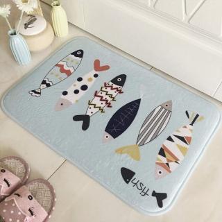 法蘭絨柔軟可愛防滑吸水地墊保暖墊(2入)