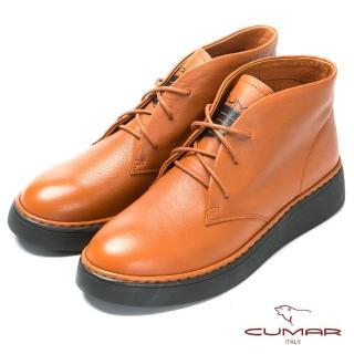 【CUMAR】嚴選真皮-舒適厚底綁帶短靴(棕色)