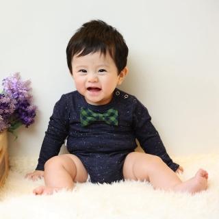【Frenchie Mini Coutur】男嬰連身衣 - 喬治嗑隆尼(長袖寶寶嬰兒包屁衣)