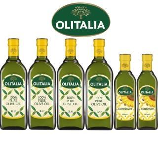 【Olitalia 奧利塔】純橄欖油1000mlx4瓶禮盒組(贈頂級葵花油500mlx2瓶)-春節禮盒