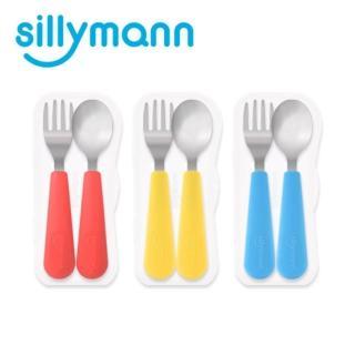 【韓國sillymann】100%鉑金矽膠不銹鋼幼童湯匙叉子餐具組(3色)