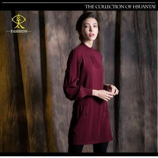 【玄太】優雅半高領針織長板造型上衣(酒紅/褐)