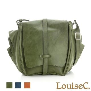 【LouiseC.】旅人雙翼磨沙牛皮包-墨綠色(02C29-0011A08)