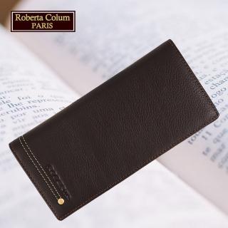 【Roberta Colum】諾貝達 軟牛皮鉚釘長夾 專櫃皮夾(23158-2咖啡)