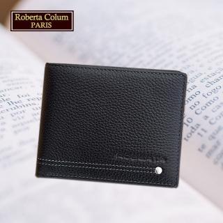 【Roberta Colum】諾貝達 男用皮夾 短夾 專櫃皮夾 鉚釘短夾(23151-1黑色)