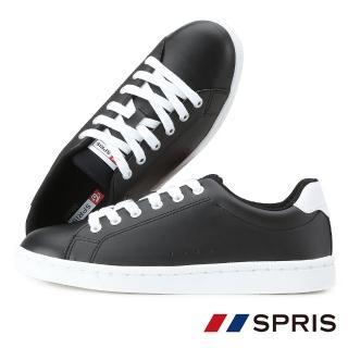 【周子瑜 TWICE x 韓國SPRIS 聯名鞋】TOUCH 皮質系列-黑(小白鞋 平底鞋  情侶鞋)