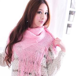 【Lady c.c.】美型飄遙流蘇造型圍巾(粉)