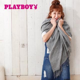 【PLAYBOY】細褶知性大幅圍巾(圍巾)