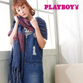 【PLAYBOY】極暖毛呢大幅圍巾(圍巾)