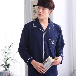 【蘿林嚴選】新款情侶長袖睡衣純棉套裝(情侶款男款)