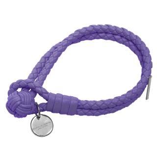 【BOTTEGA VENETA 寶緹嘉】經典編織小羊皮雙繩手環(S-紫蘿蘭113546-V001D-5114)