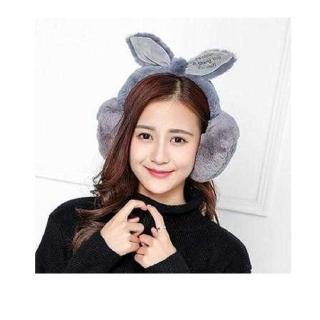 韓風 絨毛兔耳朵耳罩-灰色(雜誌款 保暖耳罩 聖誕裝扮禮物)