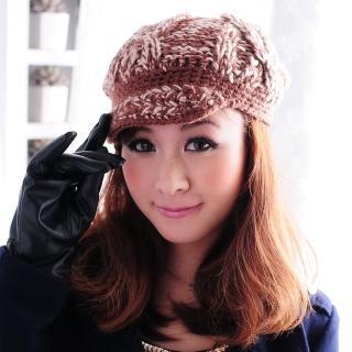 【Lady c.c.】雙色美織小帽沿暖冬毛帽(咖)