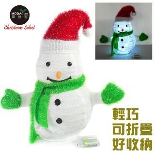 ~摩達客~聖誕彈簧折疊小雪人 LED燈電池燈 擺飾 42cm 方便輕巧好收納