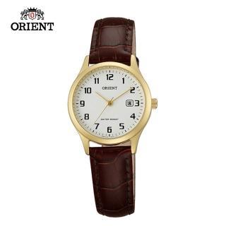 【ORIENT 東方錶】TRADITIONAL STYLE系列 復古阿拉伯數字石英錶 皮帶款 金色 FSZ3N003W - 28mm(FSZ3N003W)