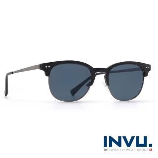 【INVU瑞士】來自瑞士濾藍光偏光復古眉框聯名款太陽眼鏡(黑 M2800A)