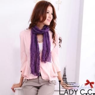 【Lady c.c.】百搭高雅素色抓皺圍巾(紫)